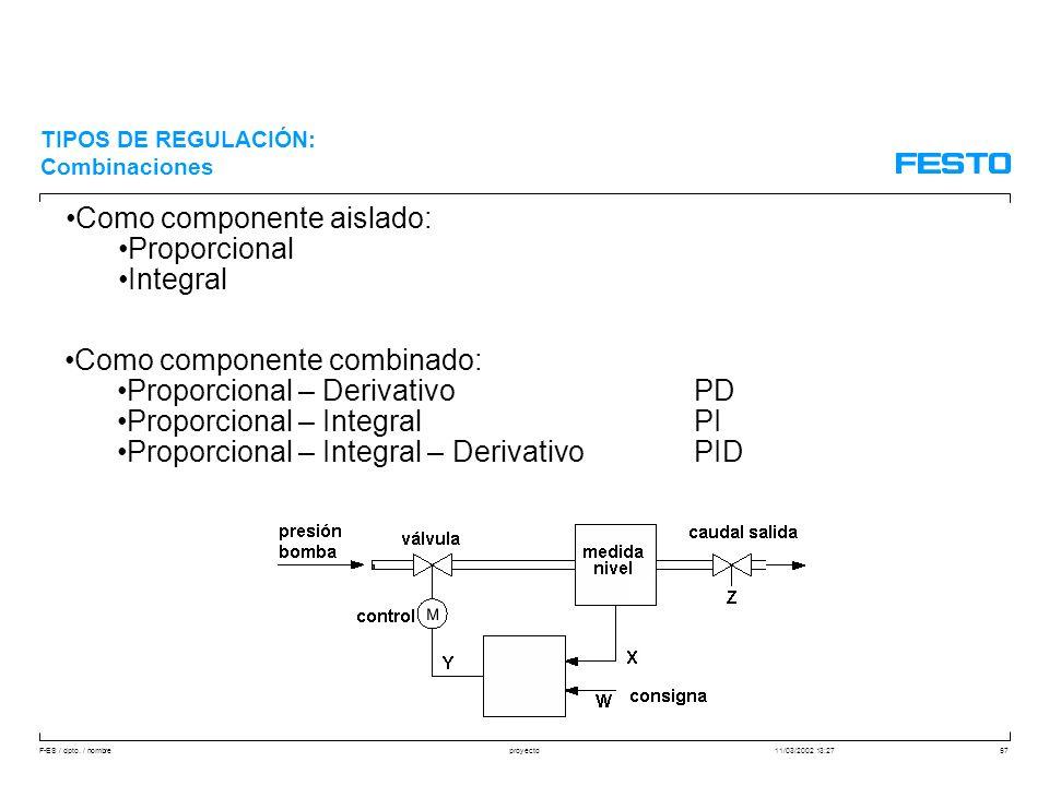 F-ES / dpto. / nombre11/03/2002 13:27proyecto57 Como componente aislado: Proporcional Integral Como componente combinado: Proporcional – DerivativoPD