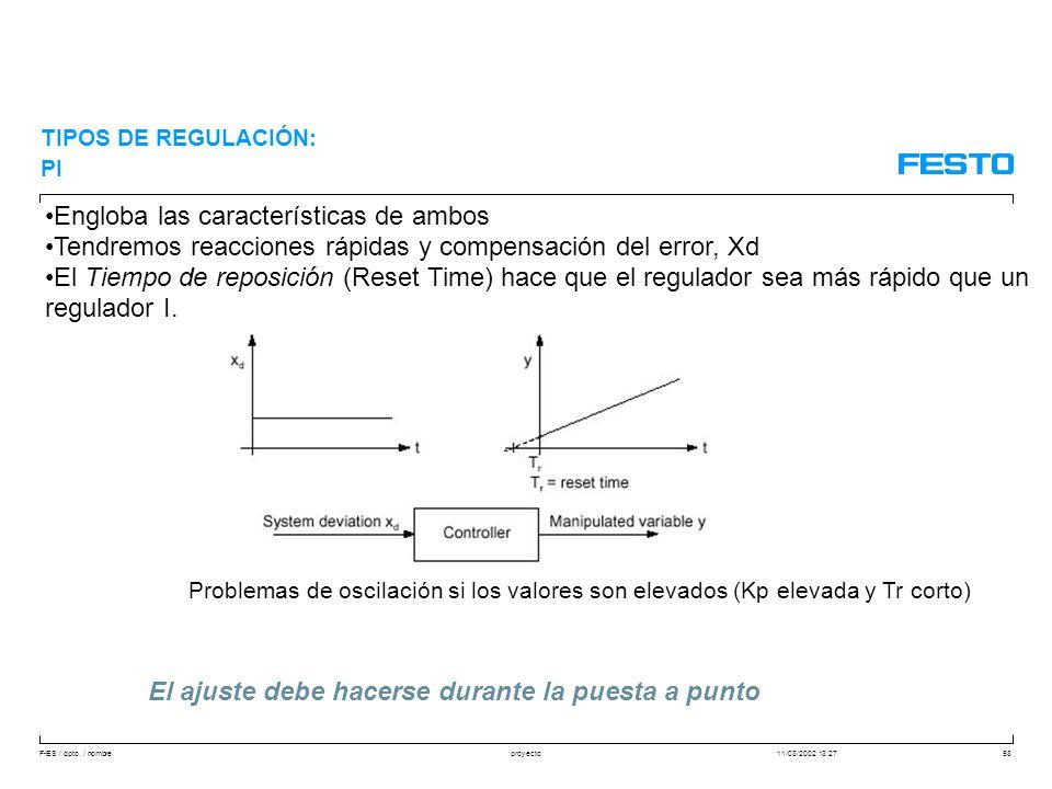 F-ES / dpto. / nombre11/03/2002 13:27proyecto58 Engloba las características de ambos Tendremos reacciones rápidas y compensación del error, Xd El Tiem