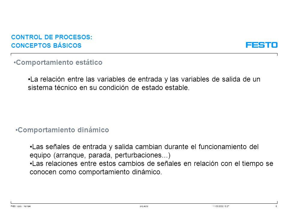 F-ES / dpto. / nombre11/03/2002 13:27proyecto6 Comportamiento estático La relación entre las variables de entrada y las variables de salida de un sist