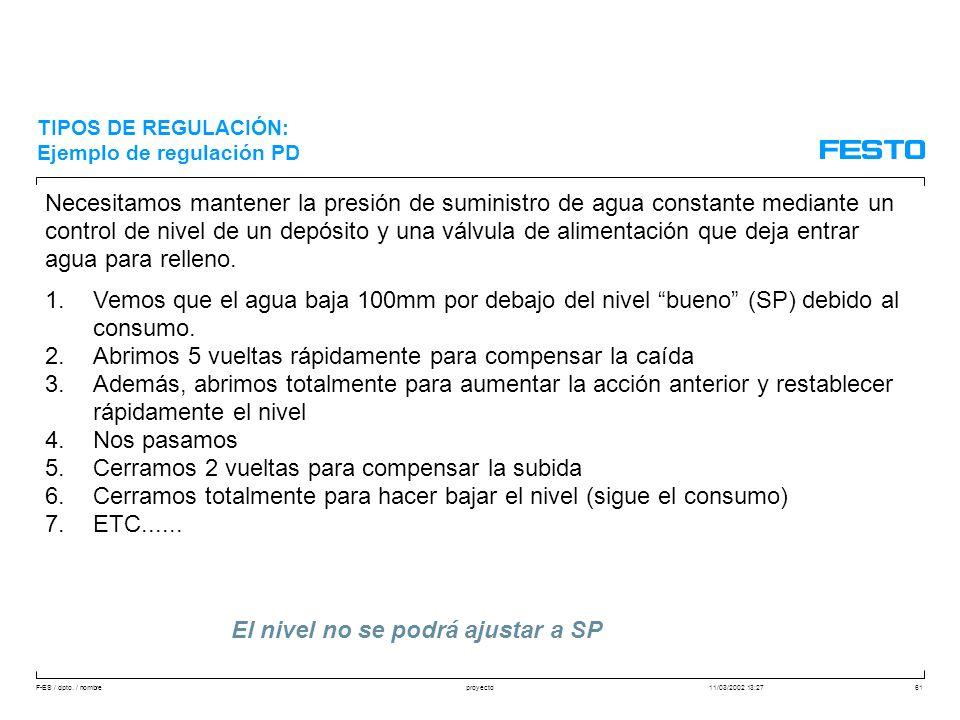 F-ES / dpto. / nombre11/03/2002 13:27proyecto61 Necesitamos mantener la presión de suministro de agua constante mediante un control de nivel de un dep
