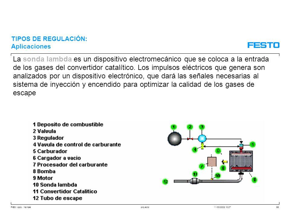 F-ES / dpto. / nombre11/03/2002 13:27proyecto66 La sonda lambda es un dispositivo electromecánico que se coloca a la entrada de los gases del converti