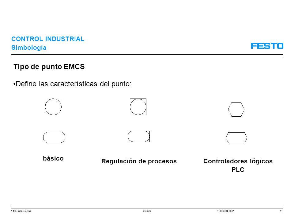 F-ES / dpto. / nombre11/03/2002 13:27proyecto71 CONTROL INDUSTRIAL Simbología Tipo de punto EMCS Define las características del punto: básico Regulaci