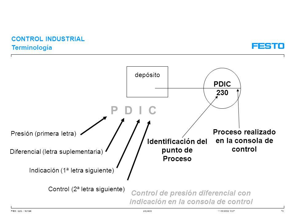 F-ES / dpto. / nombre11/03/2002 13:27proyecto73 CONTROL INDUSTRIAL Terminología P D I C Presión (primera letra) Diferencial (letra suplementaria) Indi