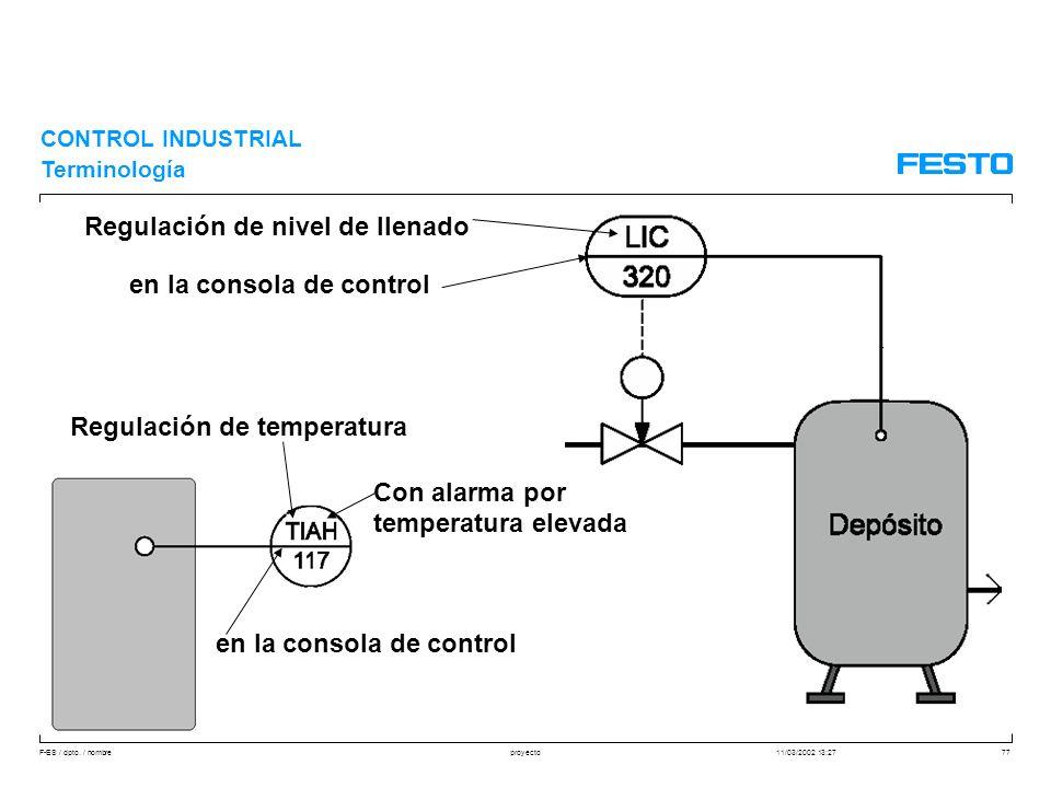 F-ES / dpto. / nombre11/03/2002 13:27proyecto77 CONTROL INDUSTRIAL Terminología Regulación de nivel de llenado en la consola de control Regulación de