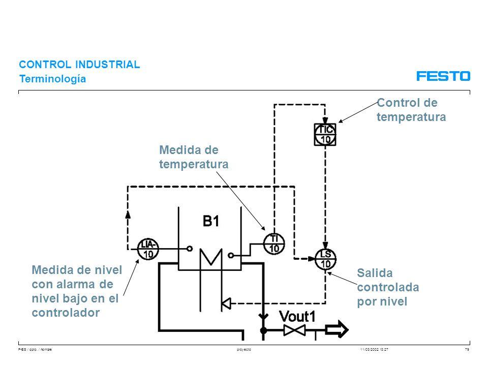 F-ES / dpto. / nombre11/03/2002 13:27proyecto79 CONTROL INDUSTRIAL Terminología Control de temperatura Medida de temperatura Medida de nivel con alarm