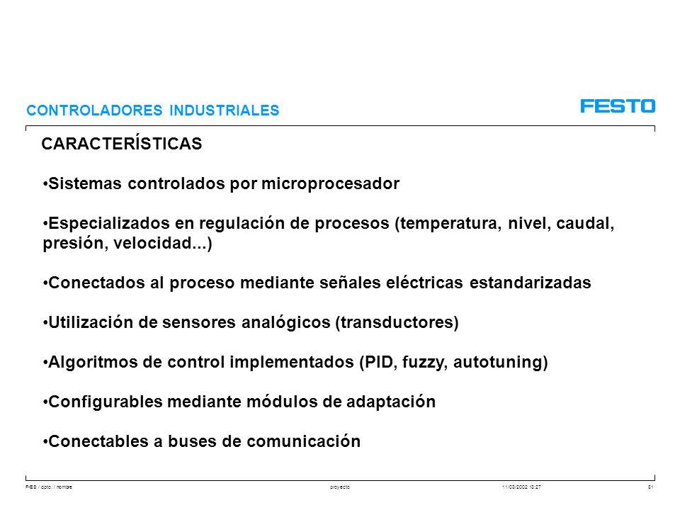 F-ES / dpto. / nombre11/03/2002 13:27proyecto81 CARACTERÍSTICAS CONTROLADORES INDUSTRIALES Sistemas controlados por microprocesador Especializados en