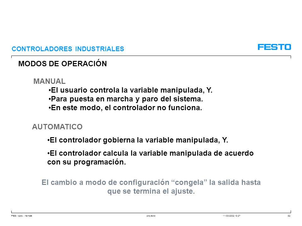 F-ES / dpto. / nombre11/03/2002 13:27proyecto82 MODOS DE OPERACIÓN MANUAL El usuario controla la variable manipulada, Y. Para puesta en marcha y paro