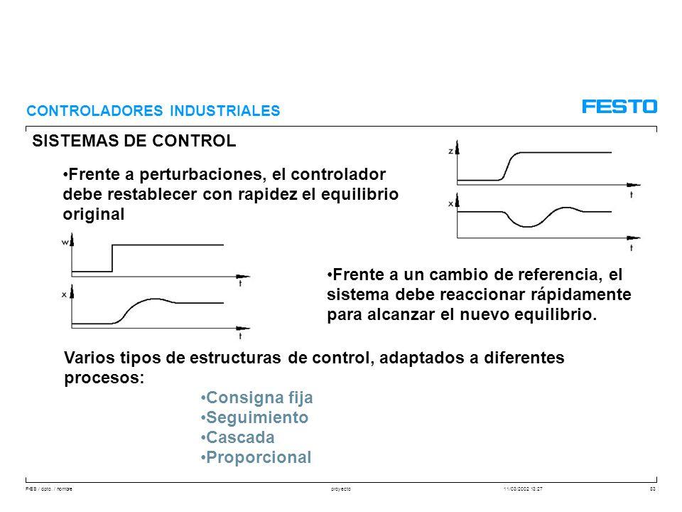 F-ES / dpto. / nombre11/03/2002 13:27proyecto83 SISTEMAS DE CONTROL CONTROLADORES INDUSTRIALES Frente a perturbaciones, el controlador debe restablece