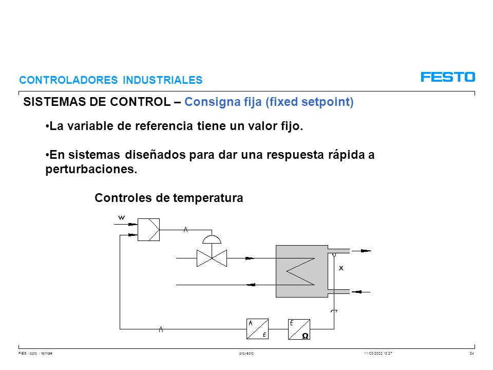 F-ES / dpto. / nombre11/03/2002 13:27proyecto84 SISTEMAS DE CONTROL – Consigna fija (fixed setpoint) CONTROLADORES INDUSTRIALES La variable de referen