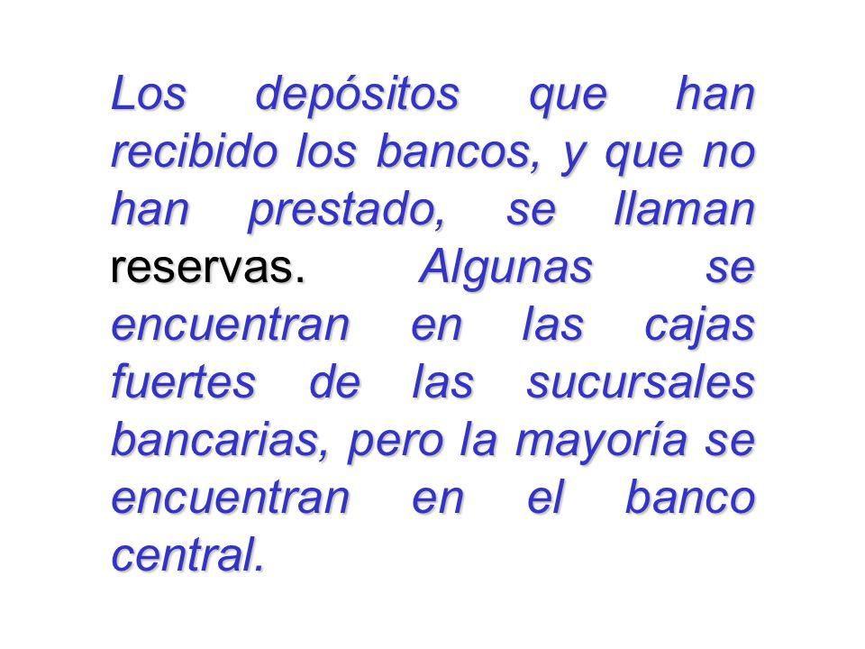 Los depósitos que han recibido los bancos, y que no han prestado, se llaman reservas. Algunas se encuentran en las cajas fuertes de las sucursales ban