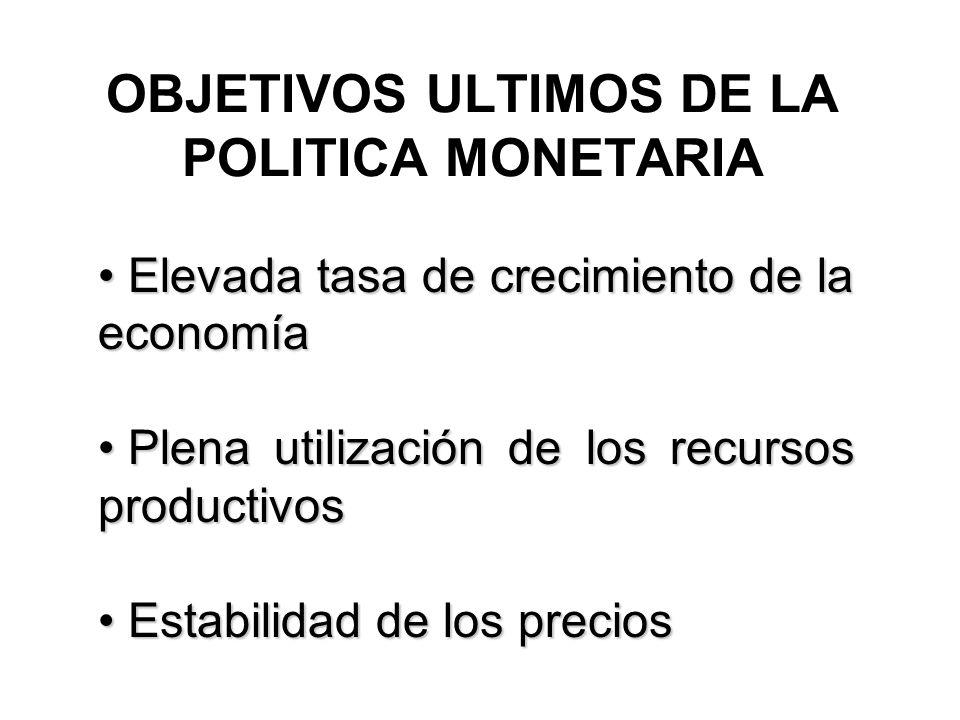 OBJETIVOS ULTIMOS DE LA POLITICA MONETARIA Elevada tasa de crecimiento de la economía Elevada tasa de crecimiento de la economía Plena utilización de