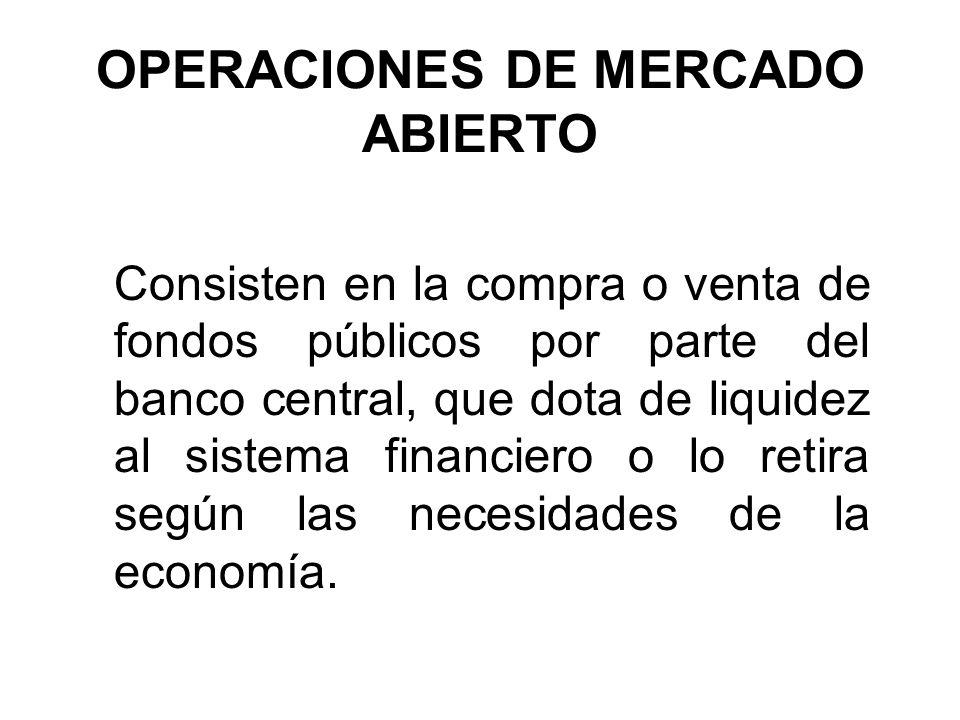 OPERACIONES DE MERCADO ABIERTO Consisten en la compra o venta de fondos públicos por parte del banco central, que dota de liquidez al sistema financie