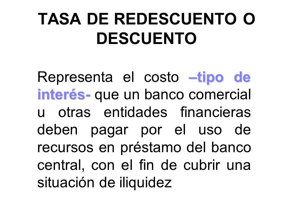 TASA DE REDESCUENTO O DESCUENTO –tipo de interés- Representa el costo –tipo de interés- que un banco comercial u otras entidades financieras deben pag