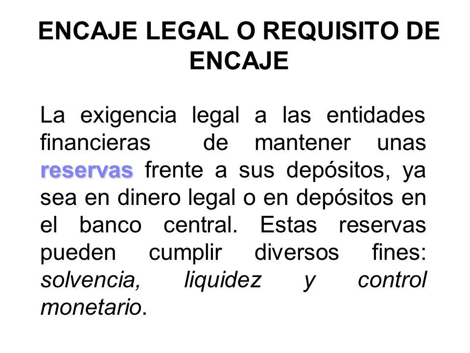ENCAJE LEGAL O REQUISITO DE ENCAJE reservas La exigencia legal a las entidades financieras de mantener unas reservas frente a sus depósitos, ya sea en