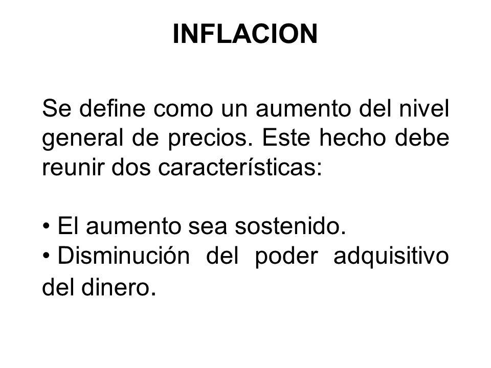 INFLACION Se define como un aumento del nivel general de precios. Este hecho debe reunir dos características: El aumento sea sostenido. Disminución de
