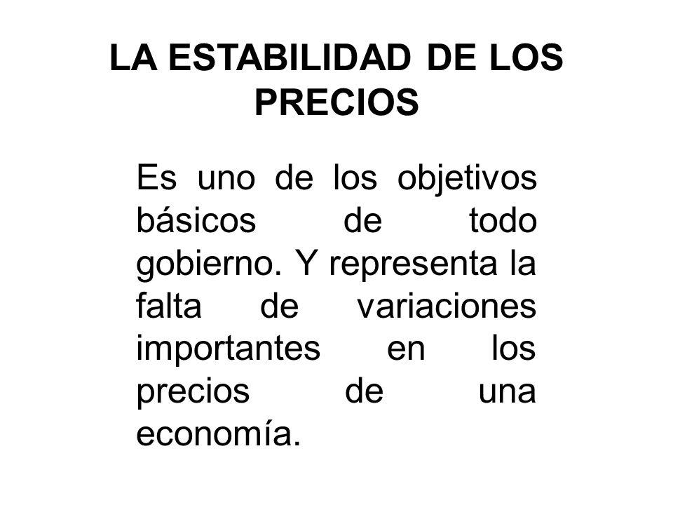 LA ESTABILIDAD DE LOS PRECIOS Es uno de los objetivos básicos de todo gobierno. Y representa la falta de variaciones importantes en los precios de una