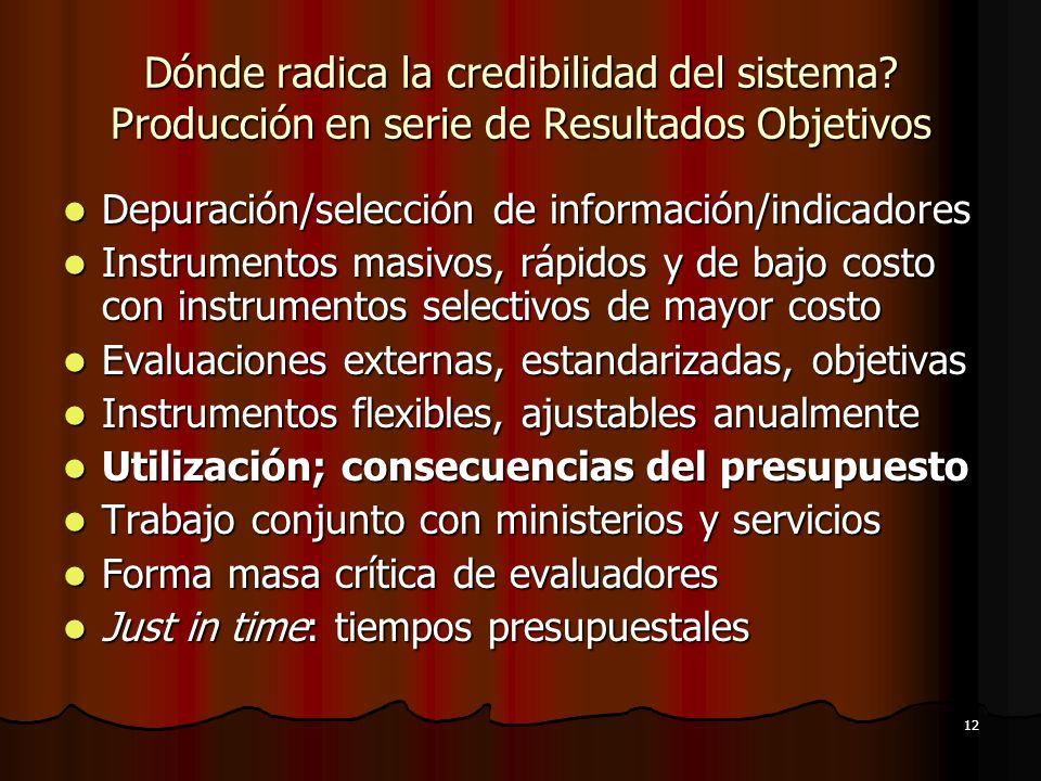 12 Dónde radica la credibilidad del sistema? Producción en serie de Resultados Objetivos Depuración/selección de información/indicadores Depuración/se