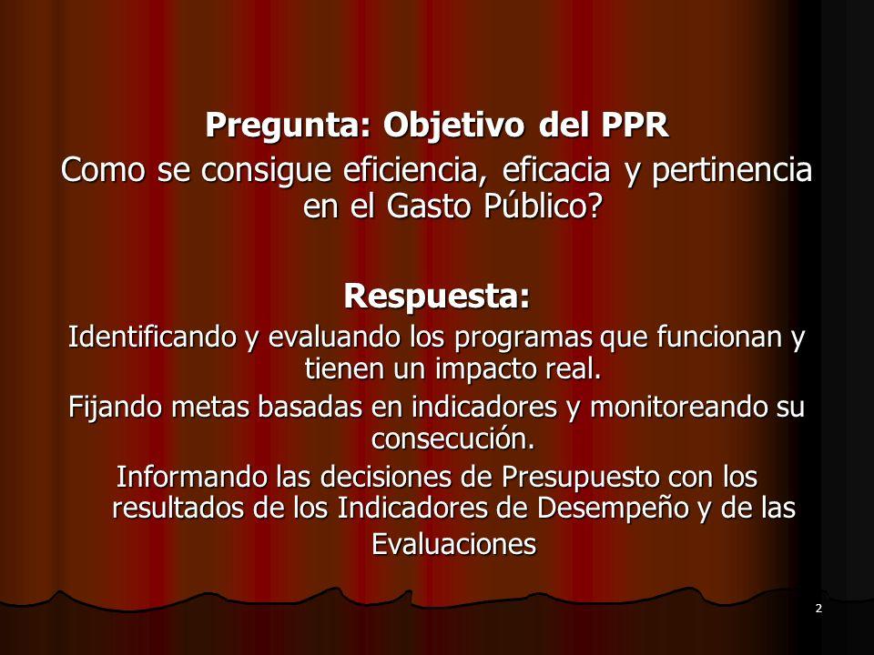 2 Pregunta: Objetivo del PPR Como se consigue eficiencia, eficacia y pertinencia en el Gasto Público? Respuesta: Identificando y evaluando los program