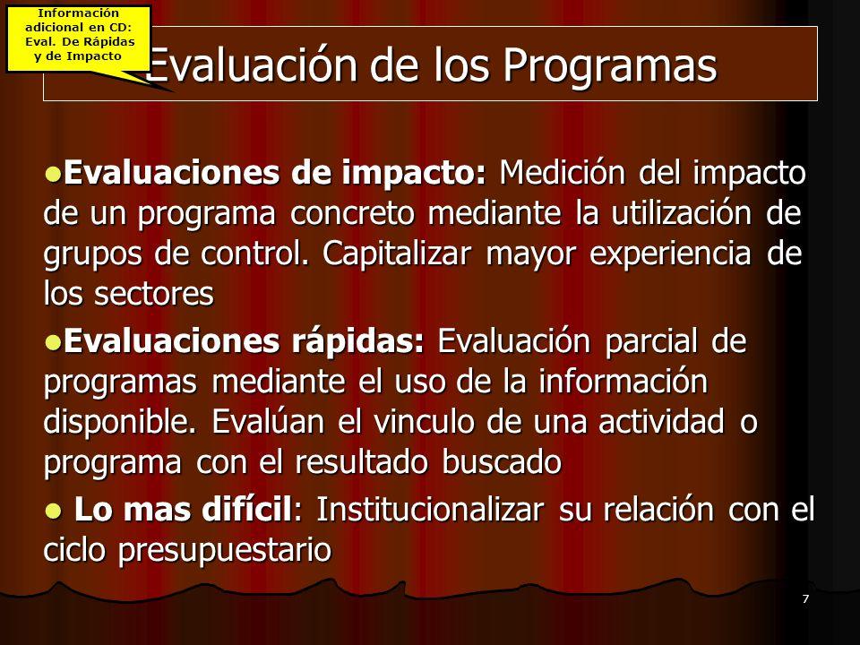 7 Evaluación de los Programas Evaluaciones de impacto: Medición del impacto de un programa concreto mediante la utilización de grupos de control. Capi