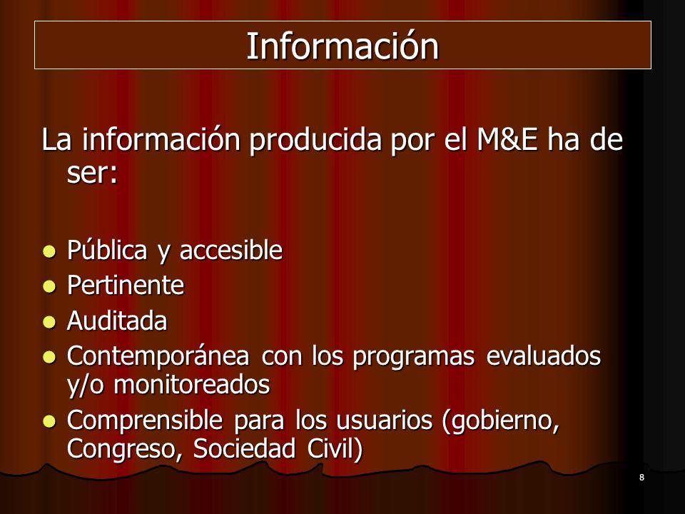 8 Información La información producida por el M&E ha de ser: Pública y accesible Pública y accesible Pertinente Pertinente Auditada Auditada Contempor