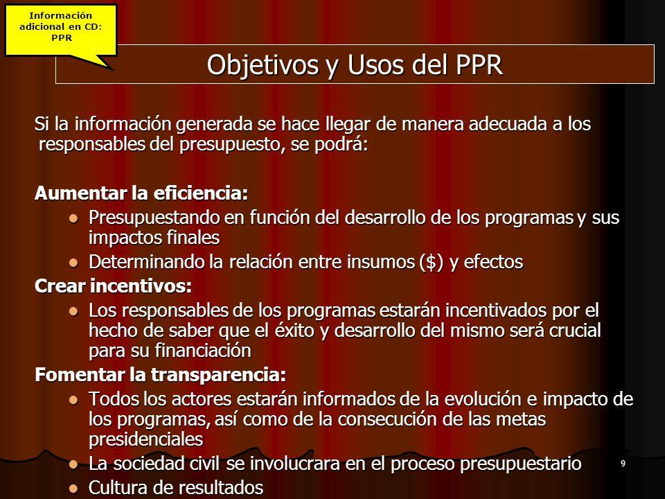 9 Objetivos y Usos del PPR Si la información generada se hace llegar de manera adecuada a los responsables del presupuesto, se podrá: Aumentar la efic