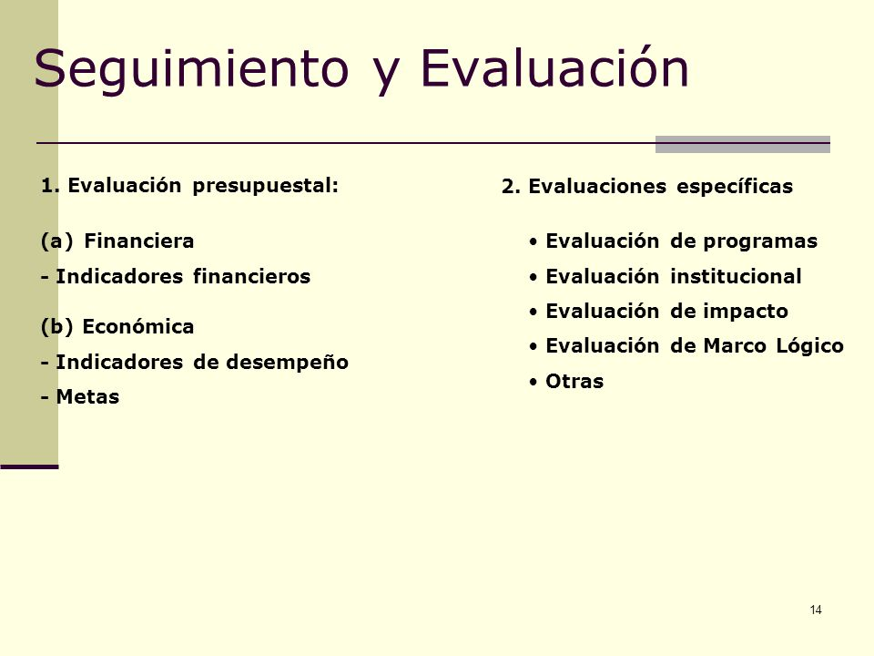 14 Seguimiento y Evaluación 1. Evaluación presupuestal: (a)Financiera - Indicadores financieros (b) Económica - Indicadores de desempeño - Metas Evalu