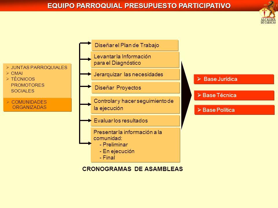 Diseñar el Plan de Trabajo Levantar la Información para el Diagnóstico Jerarquizar las necesidades Diseñar Proyectos Controlar y hacer seguimiento de