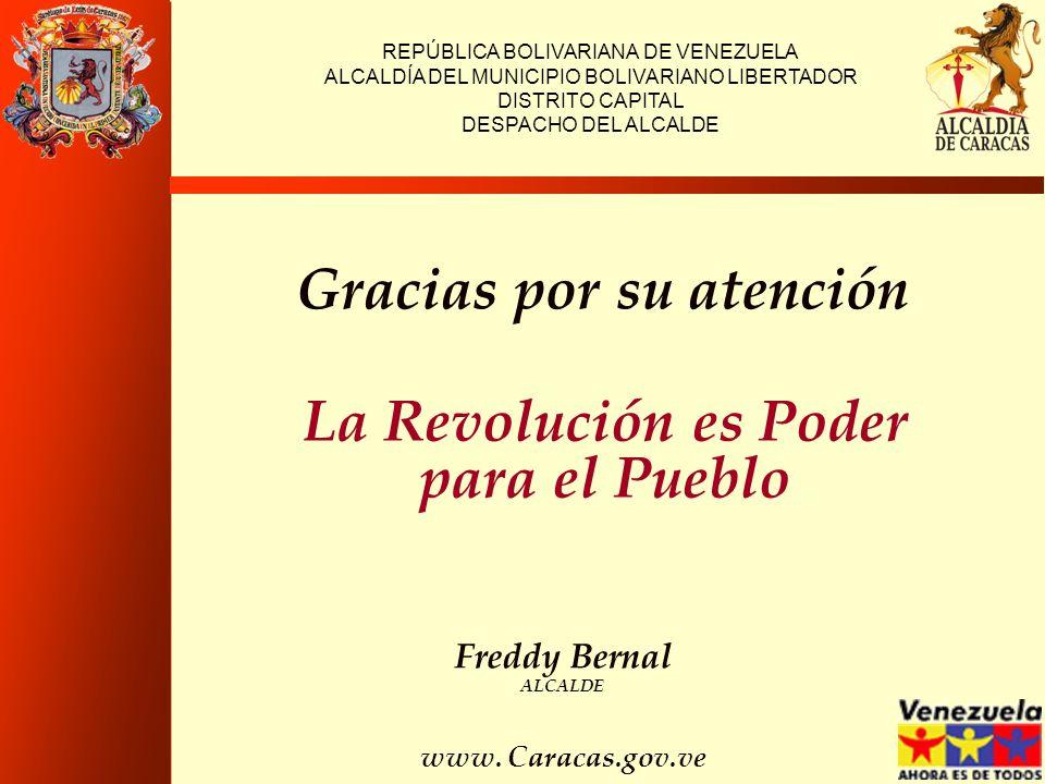 Gracias por su atención REPÚBLICA BOLIVARIANA DE VENEZUELA ALCALDÍA DEL MUNICIPIO BOLIVARIANO LIBERTADOR DISTRITO CAPITAL DESPACHO DEL ALCALDE La Revo