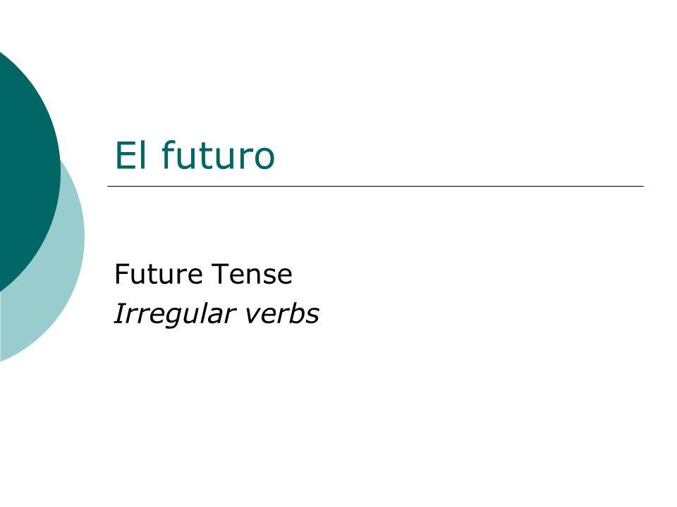 El futuro Future Tense Irregular verbs