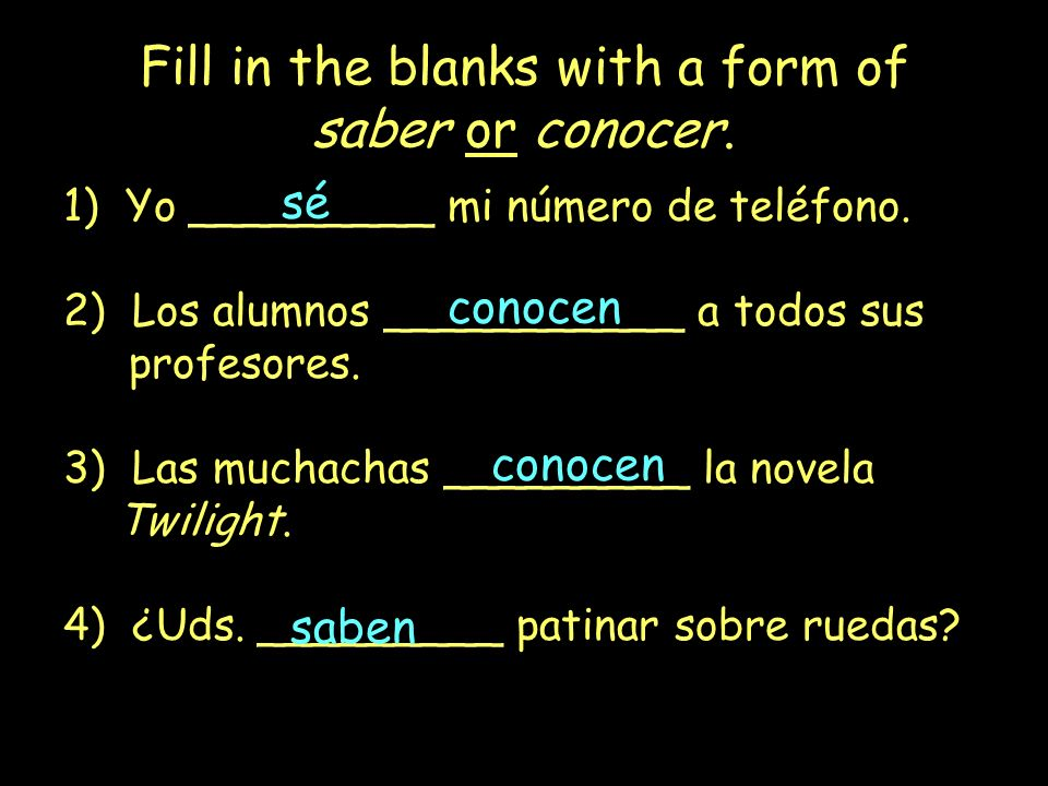 Fill in the blanks with a form of saber or conocer.