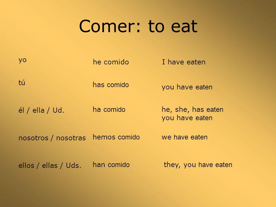Comer: to eat yo he comido tú has comido él / ella / Ud.