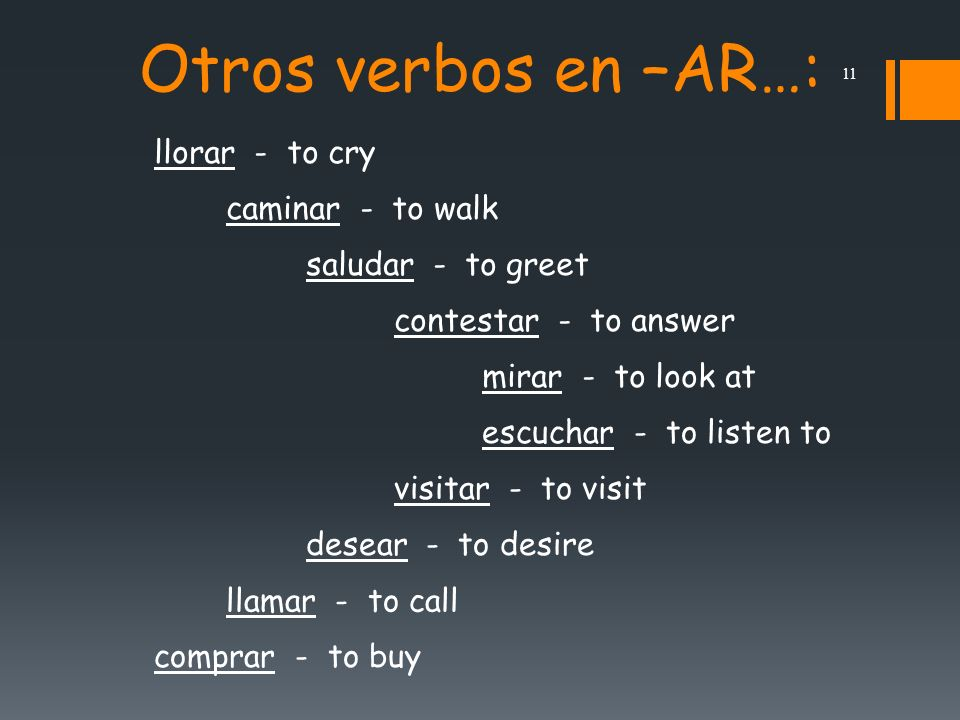10 Present-tense verbs in Spanish can have several English equivalents.