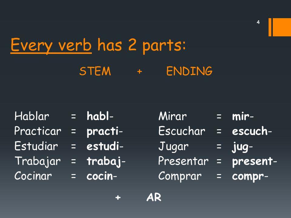 4 Every verb has 2 parts: Hablar= habl- Practicar= practi- Estudiar= estudi- Trabajar= trabaj- Cocinar= cocin- STEM+ENDING Mirar= mir- Escuchar= escuch- Jugar= jug- Presentar= present- Comprar= compr- + AR