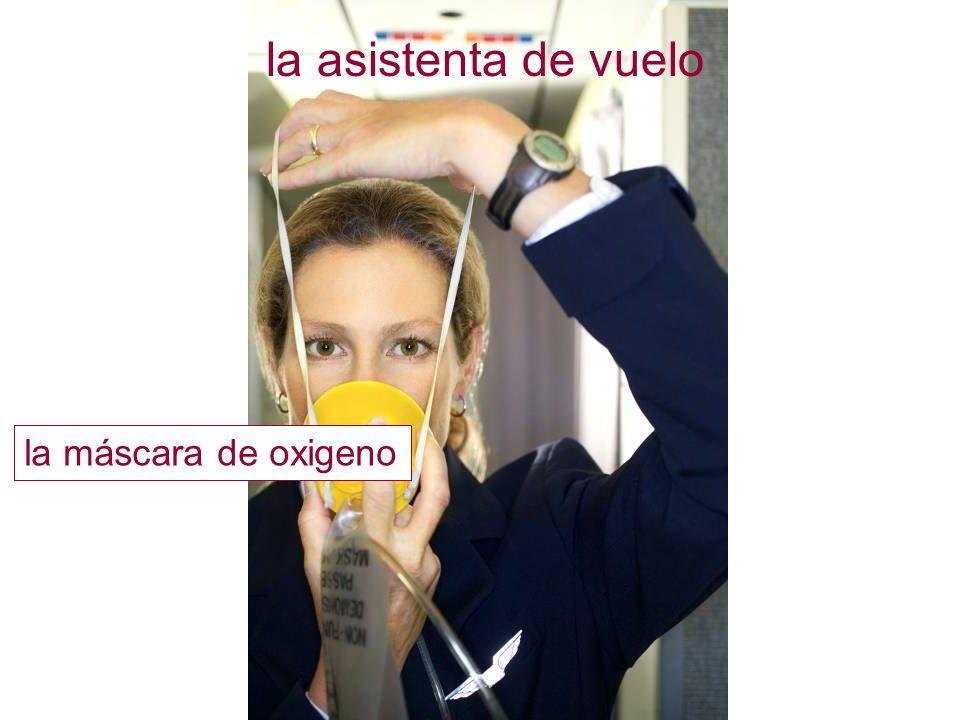la asistenta de vuelo la máscara de oxigeno