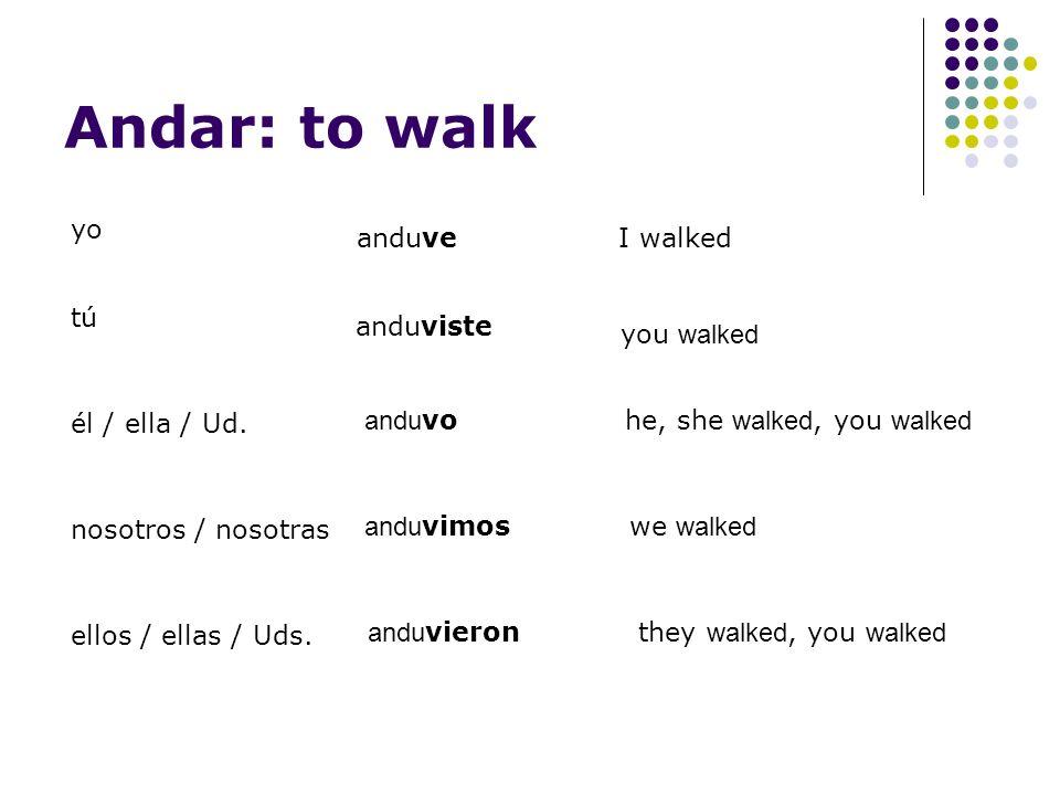 Andar: to walk yo anduve tú anduviste él / ella / Ud.