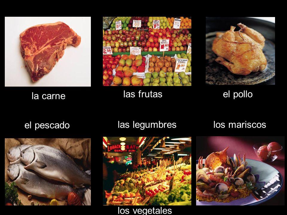 la carne las frutasel pollo el pescado los mariscoslas legumbres los vegetales