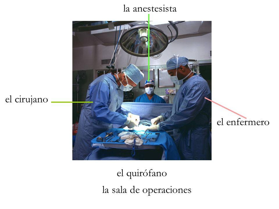 el cirujano el enfermero la anestesista el quirófano la sala de operaciones