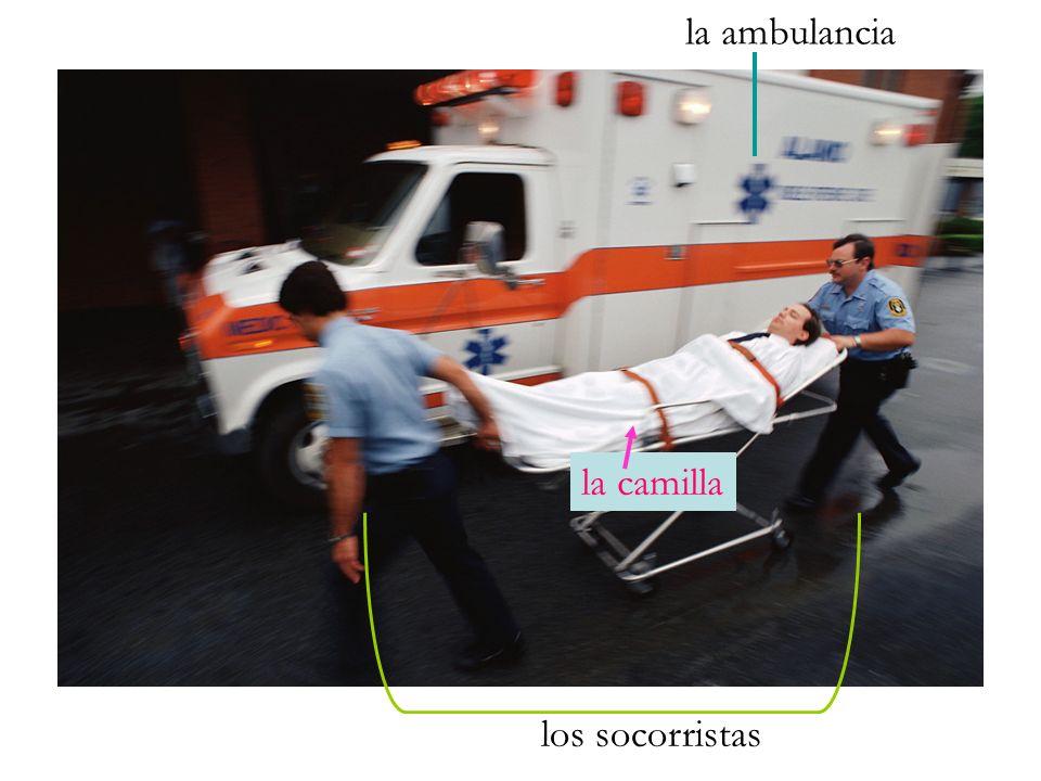 la ambulancia los socorristas la camilla