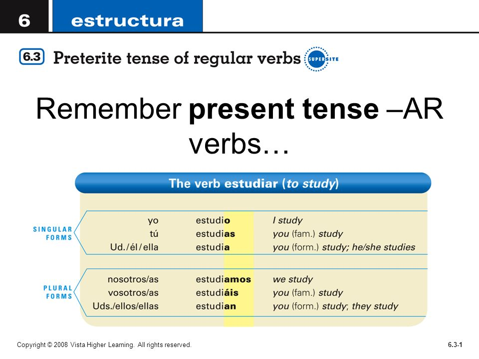 Remember present tense –AR verbs… Copyright © 2008 Vista Higher Learning. All rights reserved.6.3-1