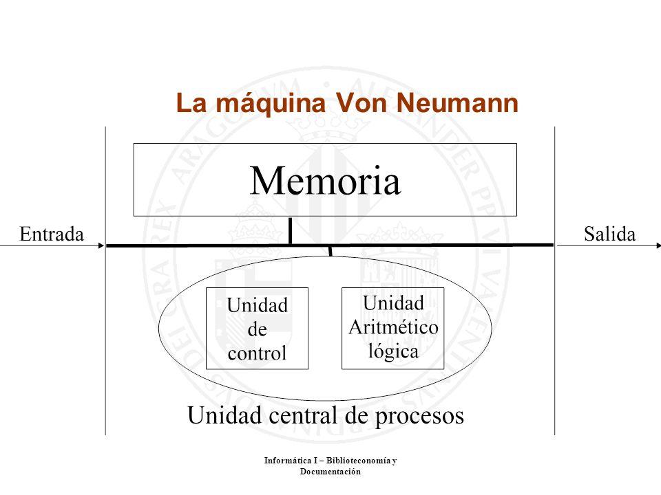 Informática I – Biblioteconomía y Documentación La máquina Von Neumann