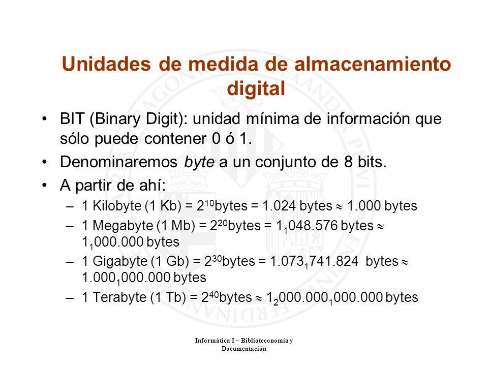 Informática I – Biblioteconomía y Documentación Unidades de medida de almacenamiento digital BIT (Binary Digit): unidad mínima de información que sólo