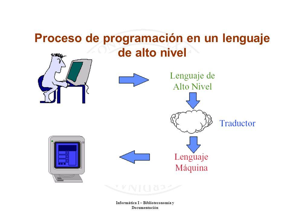 Informática I – Biblioteconomía y Documentación Proceso de programación en un lenguaje de alto nivel