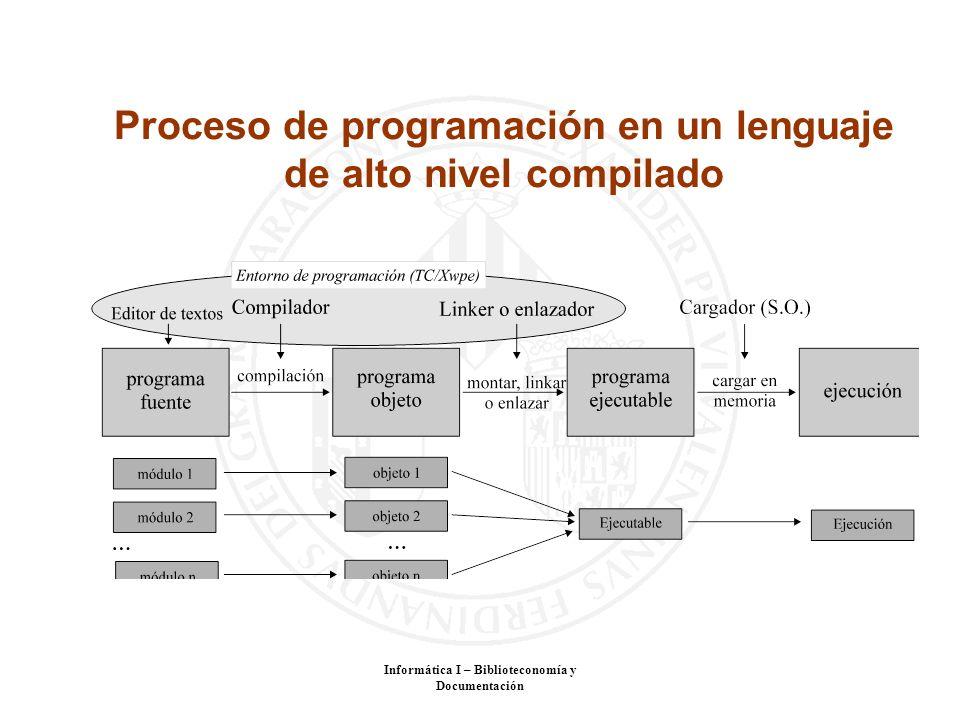 Informática I – Biblioteconomía y Documentación Proceso de programación en un lenguaje de alto nivel compilado