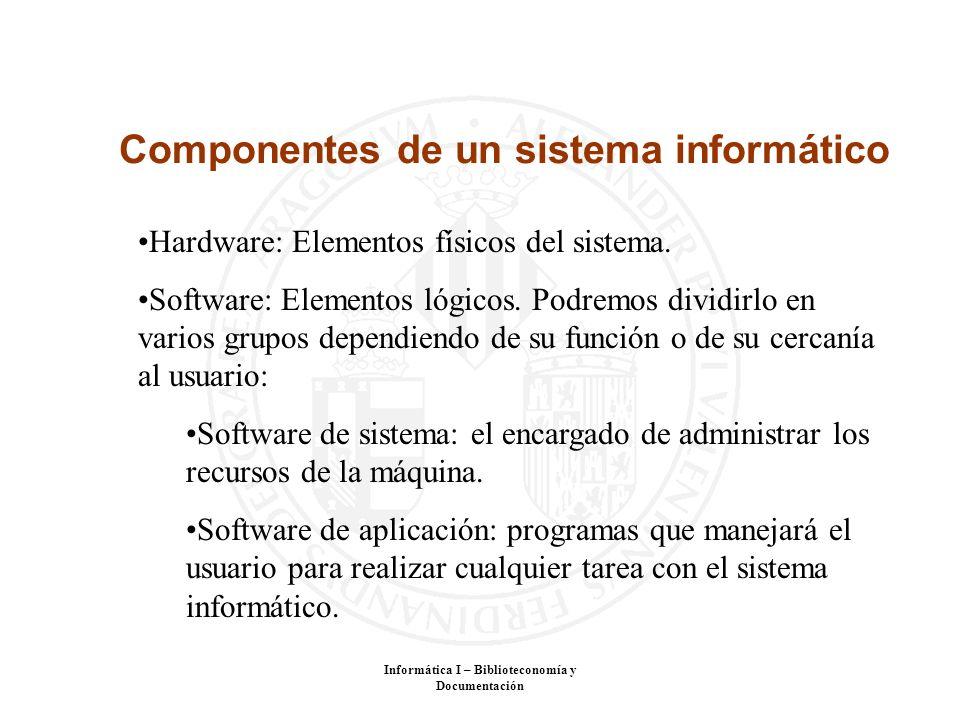 Informática I – Biblioteconomía y Documentación Componentes de un sistema informático Hardware: Elementos físicos del sistema. Software: Elementos lóg