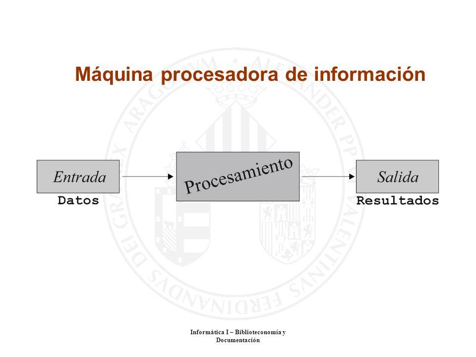 Informática I – Biblioteconomía y Documentación Máquina procesadora de información