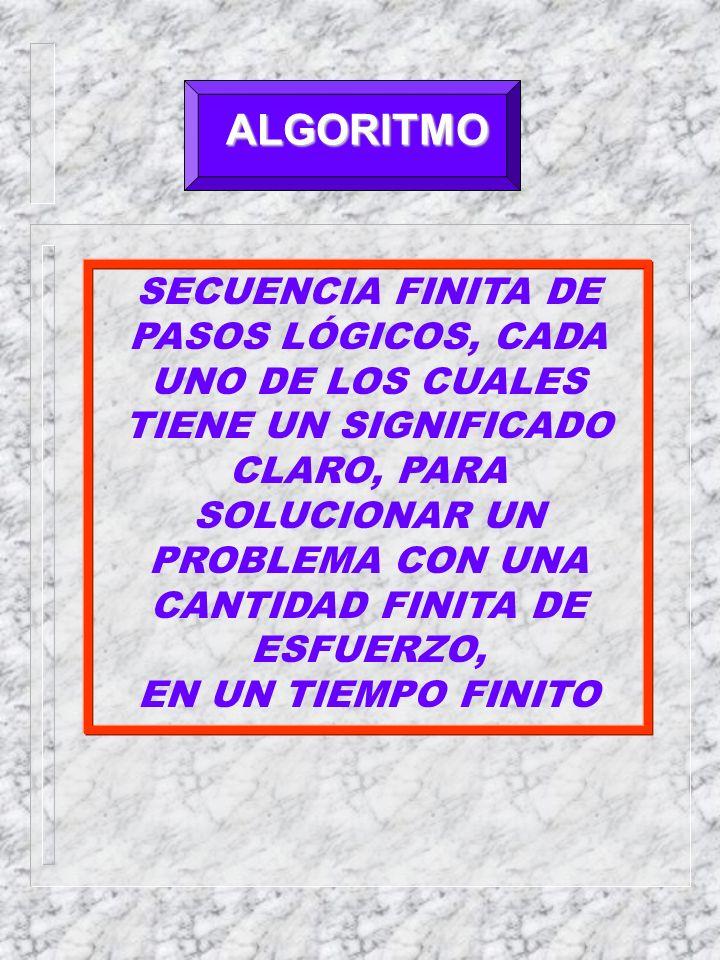 ALGORITMO SECUENCIA FINITA DE PASOS LÓGICOS, CADA UNO DE LOS CUALES TIENE UN SIGNIFICADO CLARO, PARA SOLUCIONAR UN PROBLEMA CON UNA CANTIDAD FINITA DE ESFUERZO, EN UN TIEMPO FINITO