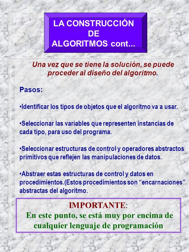 LA CONSTRUCCIÓN DE ALGORITMOS cont...
