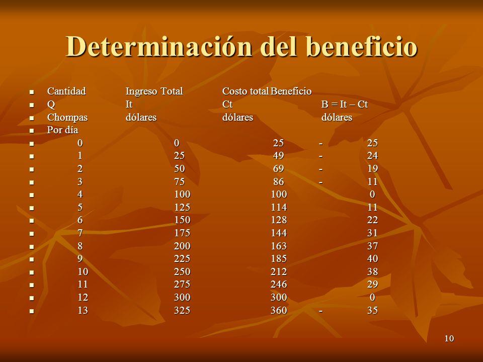 10 Determinación del beneficio Cantidad Ingreso Total Costo totalBeneficio Cantidad Ingreso Total Costo totalBeneficio QIt Ct B = It – Ct QIt Ct B = I
