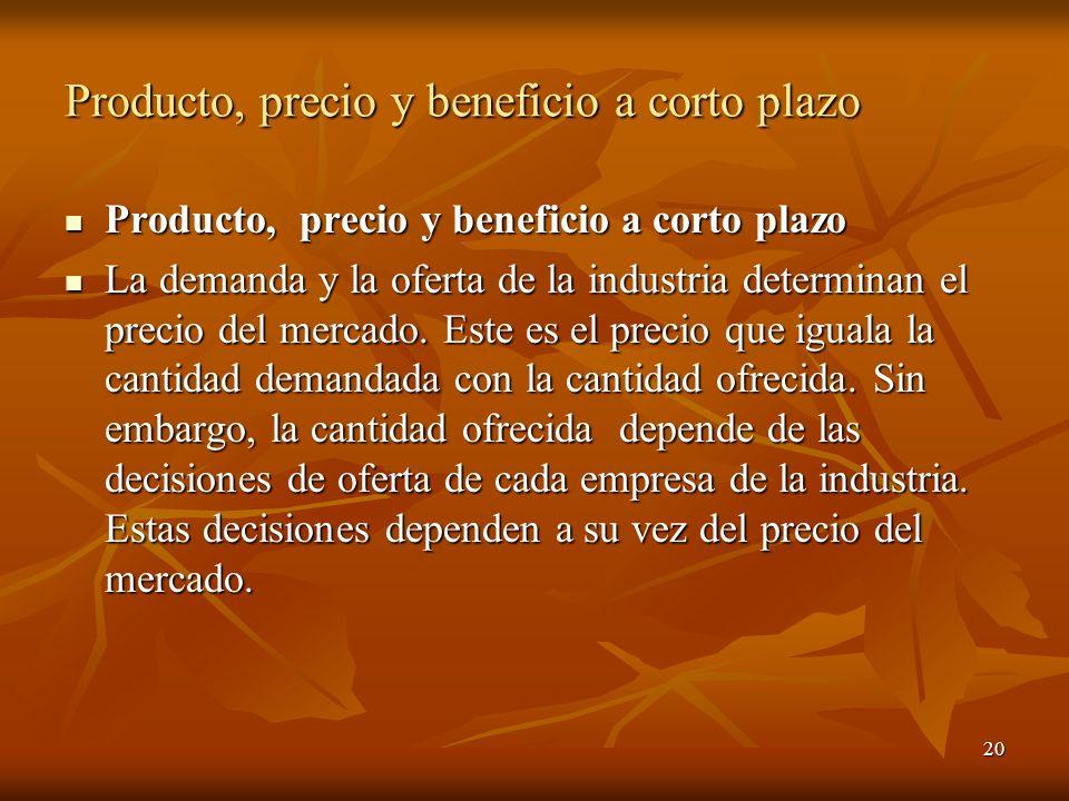 20 Producto, precio y beneficio a corto plazo Producto, precio y beneficio a corto plazo Producto, precio y beneficio a corto plazo La demanda y la of