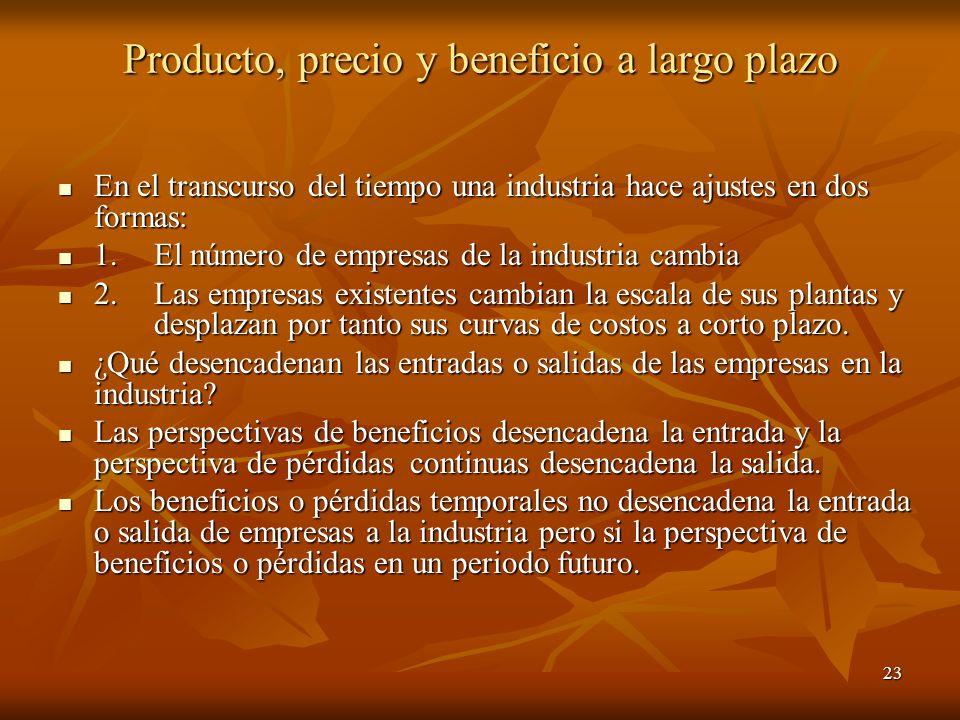 23 Producto, precio y beneficio a largo plazo En el transcurso del tiempo una industria hace ajustes en dos formas: En el transcurso del tiempo una in